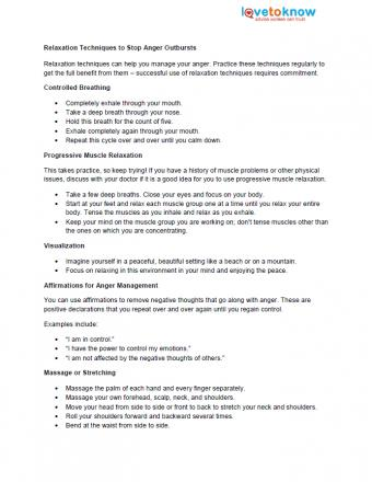 Relaxation Techniques for Anger Management Fact Sheet