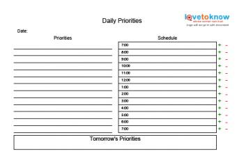 daily planning chart