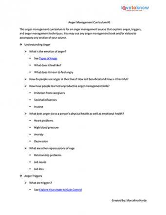 Printable Anger Management Curriculum