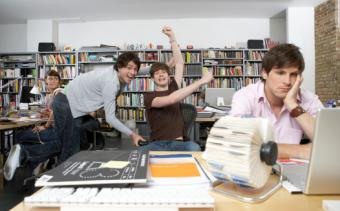 Colleagues playing in the office