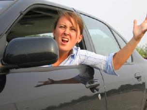 Woman stuck in traffic
