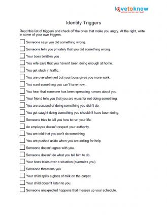 image regarding Stress Quiz Printable referred to as Totally free Anger Worksheets LoveToKnow
