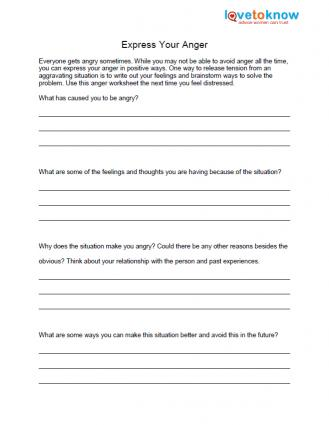 free anger worksheets lovetoknowexpressing anger