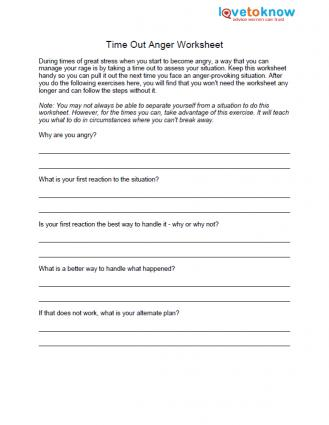 Time Out Anger Worksheet