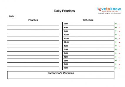 High Quality Daily Planning Chart
