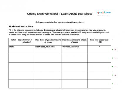 picture about Free Printable Coping Skills Worksheets for Adults referred to as Coping Techniques Worksheets for Grown ups LoveToKnow