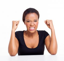 Woman controlling anger