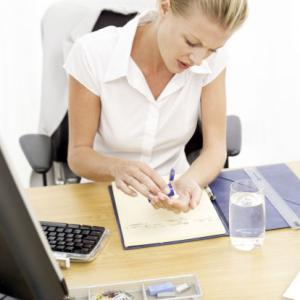 Woman taking medication for stress