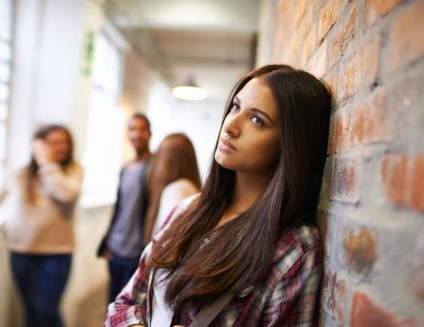 student in hallway