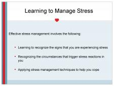 Learning to manage stress