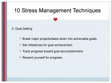 Goal setting for stress management