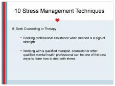 Therapy for stress management