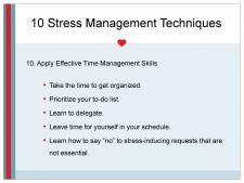 Time management reduces stress