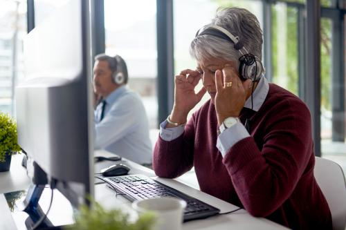 Stressed call center worker