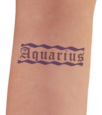 Aquarius lettered tattoo