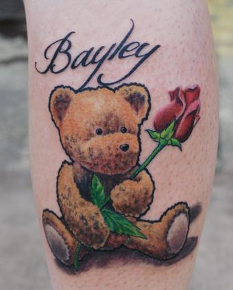 Teddy bear and rose tattoo by joshing88 on DeviantArt