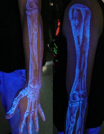 Skeleton blacklight tattoo by Richie Streate, The Dungeon Inc.   Photo courtesy Richie Streate