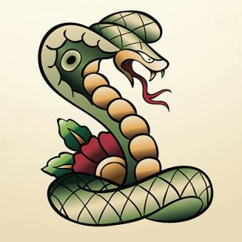Vintage Cobra Tattoo Design
