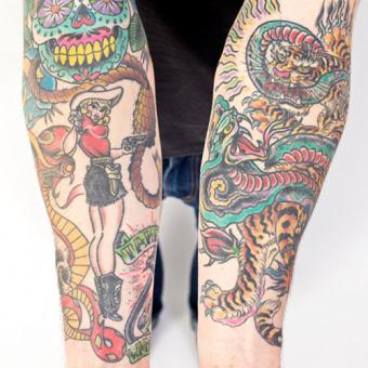 Snake on forearms