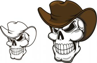 Cowboy Hat and Skull