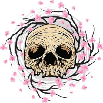 Skull and Cherry Blossoms