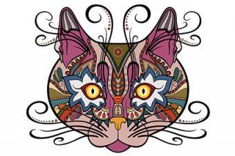 Tribal cat face tattoo design