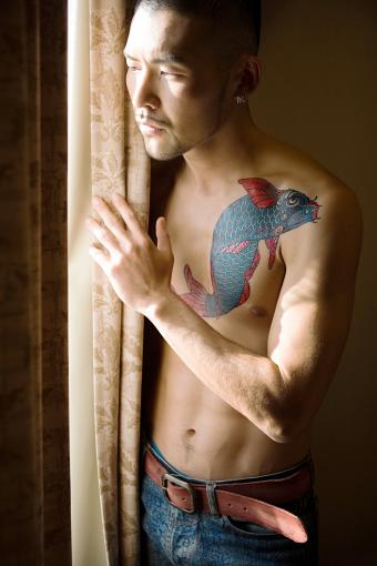 blue koi tattoo