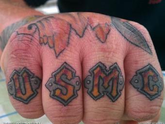 USMC knuckle tattoo by Nathan McEleney
