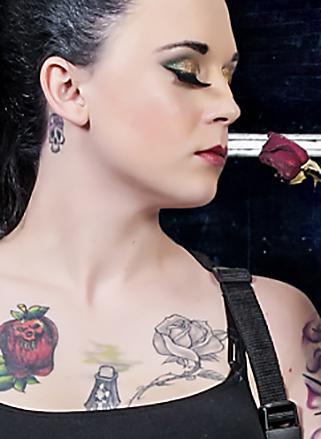 Rose tattoo on chest