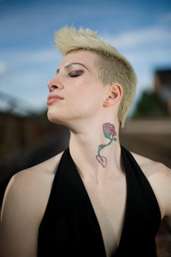 neck rose tattoo