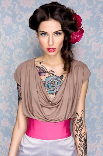 chest rose tattoo