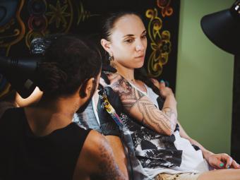 Tattoo Artist Making Tattoo