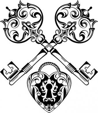 Tattoo Design Lock and Keys