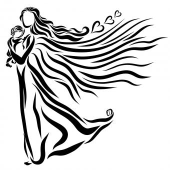 mother and baby embrace tattoo design