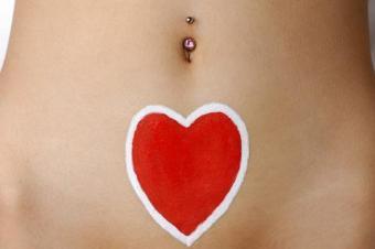 Heart design body paint