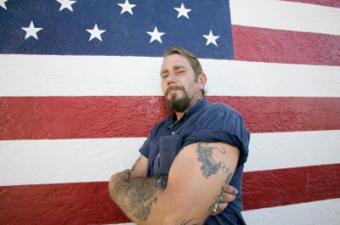 flag with man tattooed