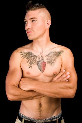 man with wing tat
