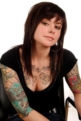 Woman with chest tats