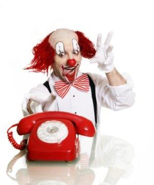 clown with phone