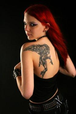 woman with back tat