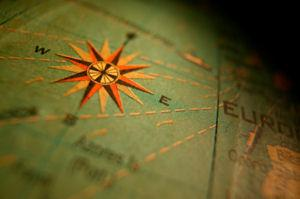 a star compass on a map