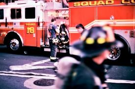 firefighters and engine