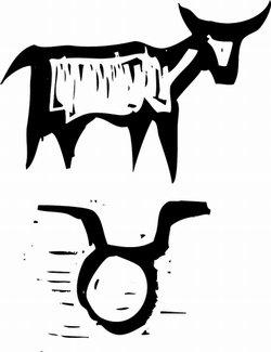 Tribal bull and Taurus glyph