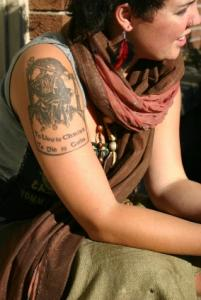 woman with Christian tattoo