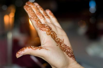 Henna on fingers and palm