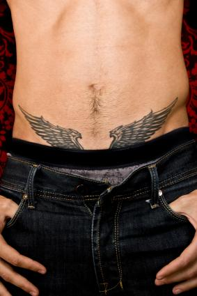 Angel wings on lower abs