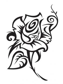 black outline rose tattoo