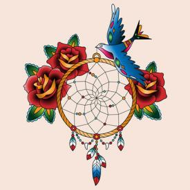 Dreamcatcher tattoo with roses and bird