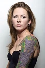 Woman with grapevine tattoo