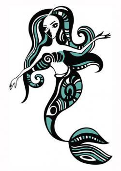 Green and black mermaid tattoo design